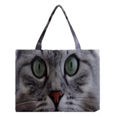 Cat Face Eyes Gray Fluffy Cute Animals Medium Tote Bag by Mariart