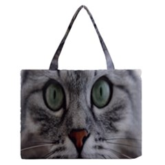 Cat Face Eyes Gray Fluffy Cute Animals Zipper Medium Tote Bag by Mariart