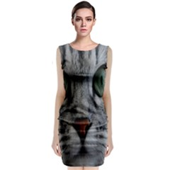Cat Face Eyes Gray Fluffy Cute Animals Sleeveless Velvet Midi Dress by Mariart