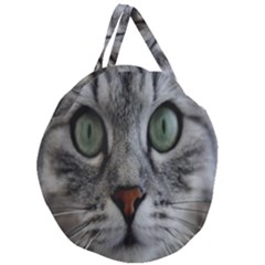 Cat Face Eyes Gray Fluffy Cute Animals Giant Round Zipper Tote by Mariart
