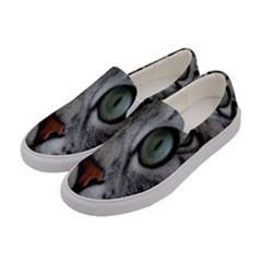 Cat Face Eyes Gray Fluffy Cute Animals Women s Canvas Slip Ons by Mariart