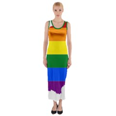 Flag Map Stripes Line Colorful Fitted Maxi Dress