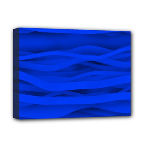Dark Blue Stripes Seamless Deluxe Canvas 16  X 12   by Mariart