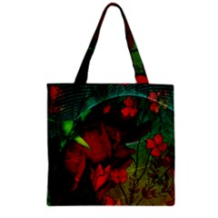 Flower Power, Wonderful Flowers, Vintage Design Zipper Grocery Tote Bag by FantasyWorld7