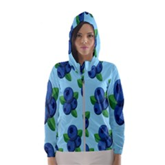 Fruit Nordic Grapes Green Blue Hooded Wind Breaker (women)