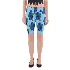 Fruit Nordic Grapes Green Blue Yoga Cropped Leggings by Mariart