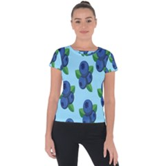 Fruit Nordic Grapes Green Blue Short Sleeve Sports Top  by Mariart