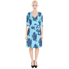 Fruit Nordic Grapes Green Blue Wrap Up Cocktail Dress