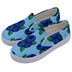 Fruit Nordic Grapes Green Blue Kids  Canvas Slip Ons by Mariart