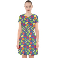 Fruit Melon Cherry Apple Strawberry Banana Apple Adorable In Chiffon Dress