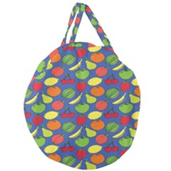 Fruit Melon Cherry Apple Strawberry Banana Apple Giant Round Zipper Tote by Mariart