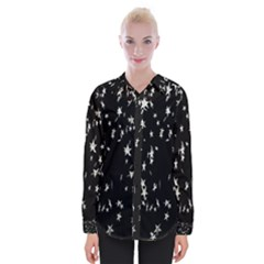 Falling Spinning Silver Stars Space White Black Womens Long Sleeve Shirt