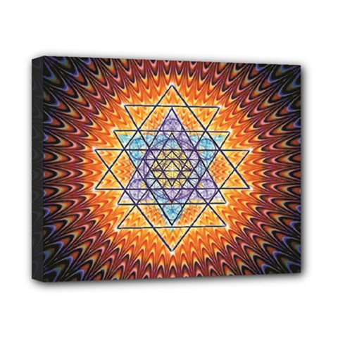 Cosmik Triangle Space Rainbow Light Blue Gold Orange Canvas 10  X 8  by Mariart