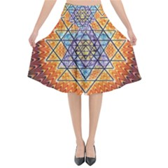 Cosmik Triangle Space Rainbow Light Blue Gold Orange Flared Midi Skirt