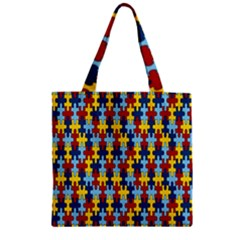 Fuzzle Red Blue Yellow Colorful Zipper Grocery Tote Bag by Mariart