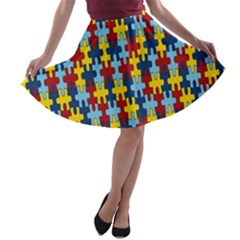 Fuzzle Red Blue Yellow Colorful A-line Skater Skirt