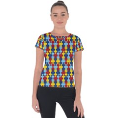 Fuzzle Red Blue Yellow Colorful Short Sleeve Sports Top  by Mariart