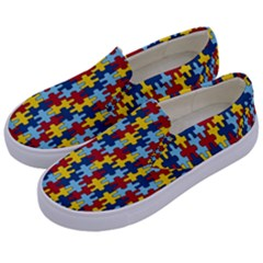 Fuzzle Red Blue Yellow Colorful Kids  Canvas Slip Ons by Mariart