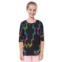 Grid Light Colorful Bright Ultra Kids  Quarter Sleeve Raglan Tee by Mariart