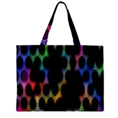 Grid Light Colorful Bright Ultra Zipper Large Tote Bag by Mariart