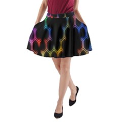 Grid Light Colorful Bright Ultra A Line Pocket Skirt