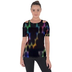 Grid Light Colorful Bright Ultra Short Sleeve Top