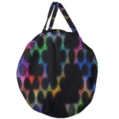 Grid Light Colorful Bright Ultra Giant Round Zipper Tote by Mariart