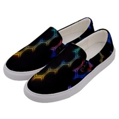 Grid Light Colorful Bright Ultra Men s Canvas Slip Ons by Mariart