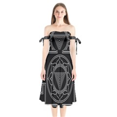 Kali Yantra Inverted Shoulder Tie Bardot Midi Dress by Mariart
