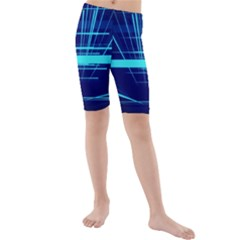 Grid Structure Blue Line Kids  Mid Length Swim Shorts by Mariart