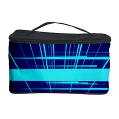 Grid Structure Blue Line Cosmetic Storage Case