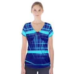Grid Structure Blue Line Short Sleeve Front Detail Top by Mariart