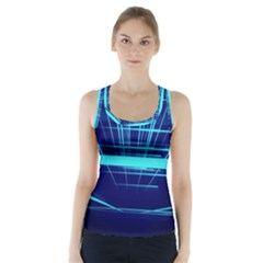 Grid Structure Blue Line Racer Back Sports Top