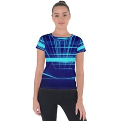 Grid Structure Blue Line Short Sleeve Sports Top