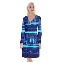 Grid Structure Blue Line Long Sleeve Velvet Front Wrap Dress