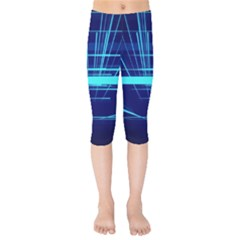 Grid Structure Blue Line Kids  Capri Leggings  by Mariart