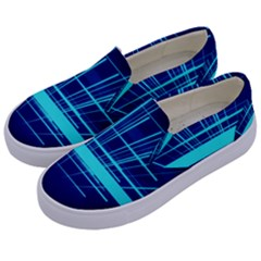 Grid Structure Blue Line Kids  Canvas Slip Ons by Mariart