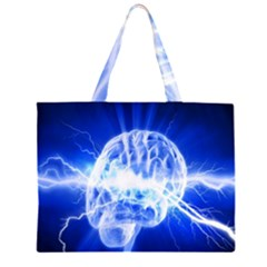 Lightning Brain Blue Zipper Large Tote Bag by Mariart