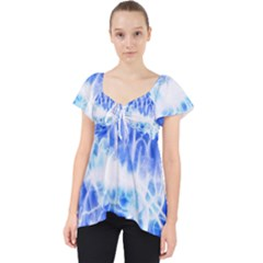 Lightning Brain Blue Lace Front Dolly Top