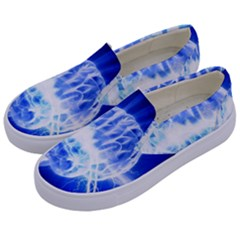 Lightning Brain Blue Kids  Canvas Slip Ons by Mariart
