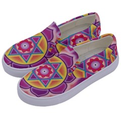 Kali Yantra Inverted Rainbow Kids  Canvas Slip Ons by Mariart