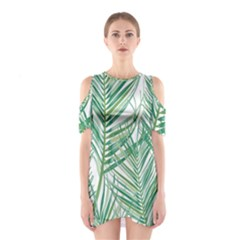 Jungle Fever Green Leaves Shoulder Cutout One Piece