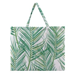 Jungle Fever Green Leaves Zipper Large Tote Bag by Mariart
