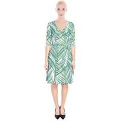 Jungle Fever Green Leaves Wrap Up Cocktail Dress