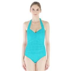 Line Blue Halter Swimsuit by Mariart