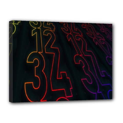 Neon Number Canvas 16  X 12  by Mariart