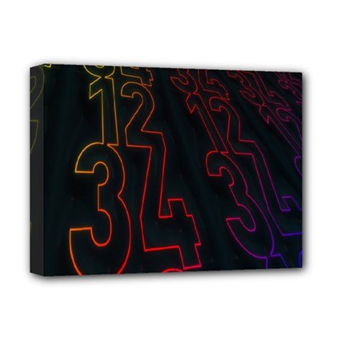 Neon Number Deluxe Canvas 16  X 12   by Mariart