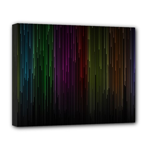 Line Rain Rainbow Light Stripes Lines Flow Deluxe Canvas 20  X 16   by Mariart