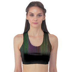 Line Rain Rainbow Light Stripes Lines Flow Sports Bra by Mariart