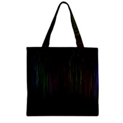 Line Rain Rainbow Light Stripes Lines Flow Zipper Grocery Tote Bag by Mariart